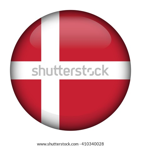 Round glossy Button with flag of Denmark  - stock vector
