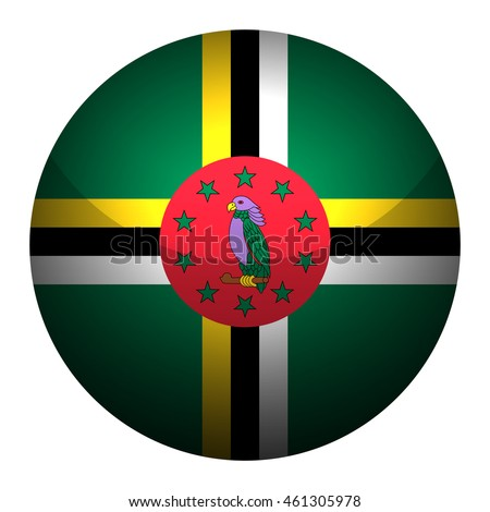 Round glossy Button with flag of Dominica