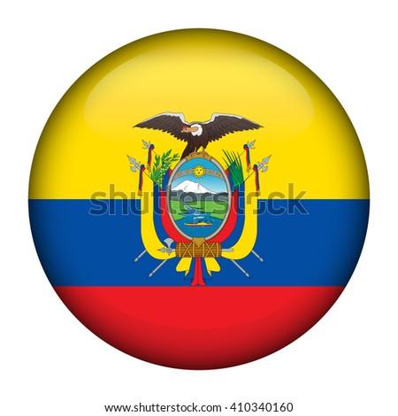 Round glossy Button with flag of Ecuador  - stock vector