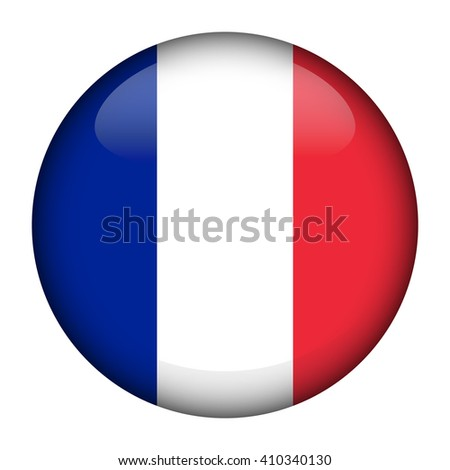 Round glossy Button with flag of France  - stock vector