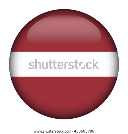 Round glossy Button with flag of Latvia