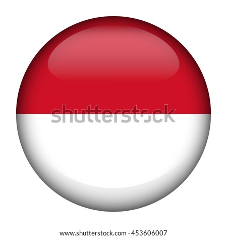 Round glossy Button with flag of Monaco