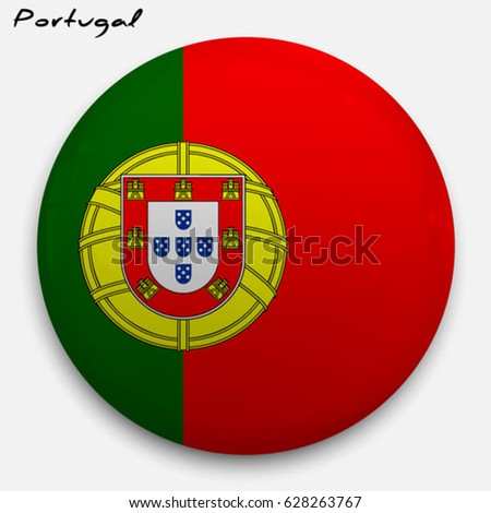Round glossy Button with flag of Portugal with the reflection of light and shadow realistic. Icon of country.