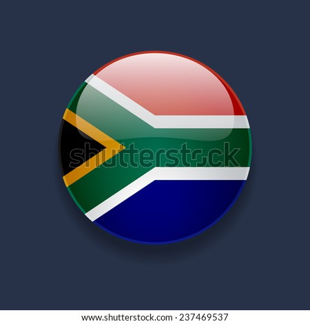 Round glossy icon with national flag of South Africa on dark blue background