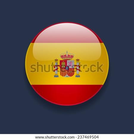 Round glossy icon with national flag of Spain on dark blue background - stock vector