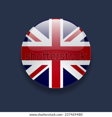 Round glossy icon with national flag of the UK on dark blue background - stock vector