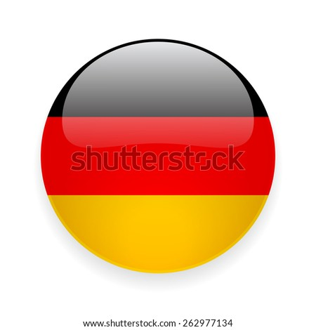 Round glossy vector icon with national flag of Germany on white background - stock vector