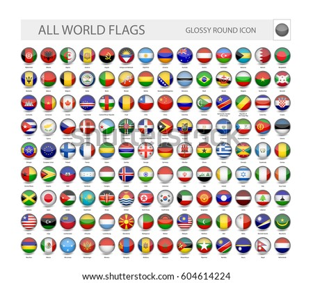 Round Glossy World Flags Vector Collection. Part 1.