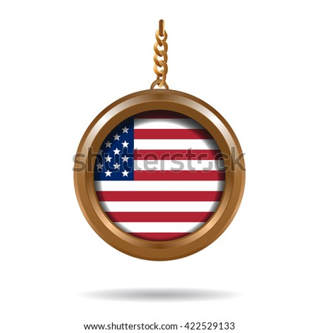 Round gold locket on a chain with an American flag inside. Flag of the United States of America. American flag. Vector illustration