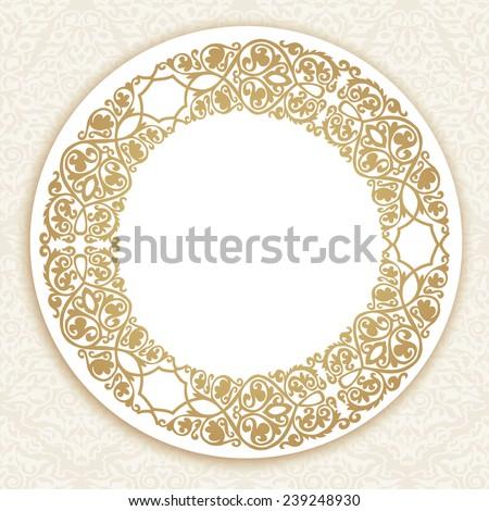 Round gold luxury style border on seamless background. Vector illustration - stock vector