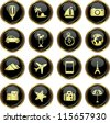 Round golden buttons with travel icons. Vector illustration. - stock vector