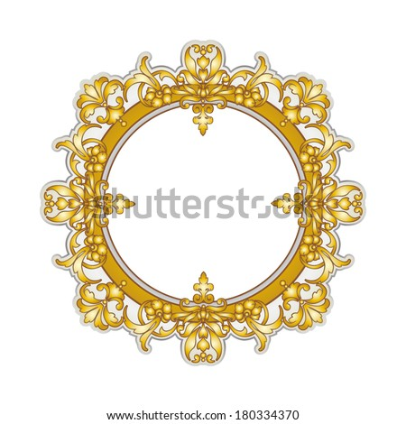 Round golden oriental style frame (Persian, Arabian, Gypsy, Indian) - stock vector