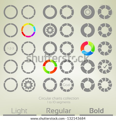 Round graph circular charts, set of thirty design templates, from one to ten rounded arrow shaped segments in three variations of thickness - stock vector