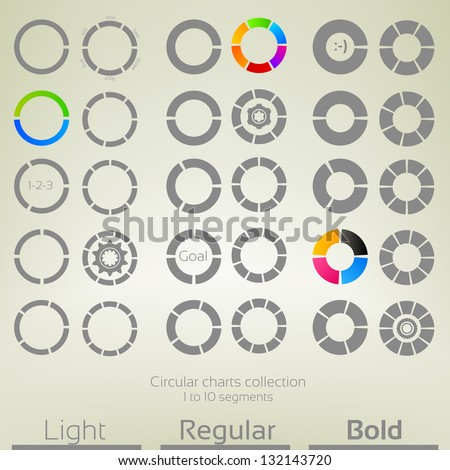 Round graph circular charts, set of thirty design templates, from one to ten segments in three variations of thickness - stock vector