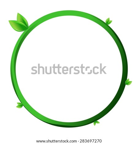 Round green leaf frame