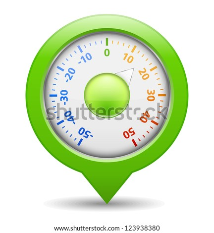 Round green thermometer, vector eps10 illustration - stock vector
