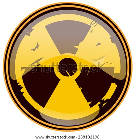 Round Grunge Nuclear Sign, Vector Illustration isolated on White Background.  - stock vector