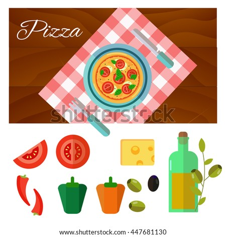 Round hot delicious tasty italian pizza in flat style on wooden background. Vector illustration. - stock vector