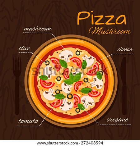 Round hot delicious tasty Mushroom pizza in flat style. Vector illustration of pizza with mushroom, olive, tomato, cheese, oregano.  - stock vector