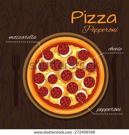 Round hot delicious tasty Pepperoni pizza in flat style. Vector illustration of pizza with mozzarella, cheese, pepperoni. - stock vector