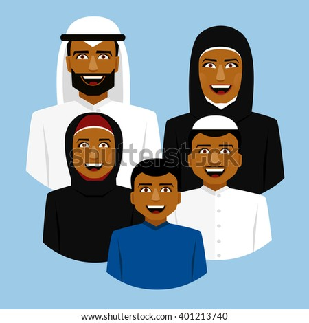 Round icon of smiling arab family. Father, mother, son and daughter. - stock vector
