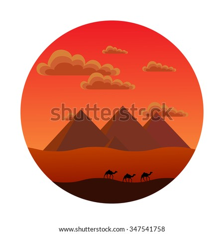 round icon style flat. it shows the Egyptian pyramids, clouds, sand, camels during sunset - stock vector