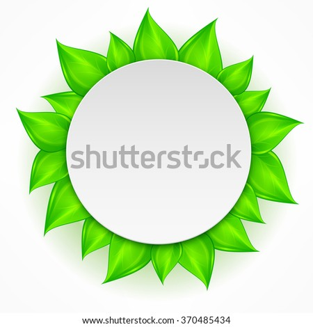 Round icon with green leaves on white. Vector illustration - stock vector