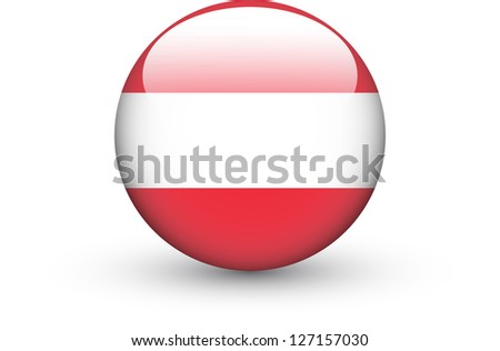 Round icon with national flag of Austria isolated on white background