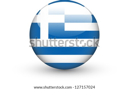 Round icon with national flag of Greece isolated on white background - stock vector