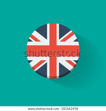 Round icon with national flag of the UK. Flat design. - stock vector