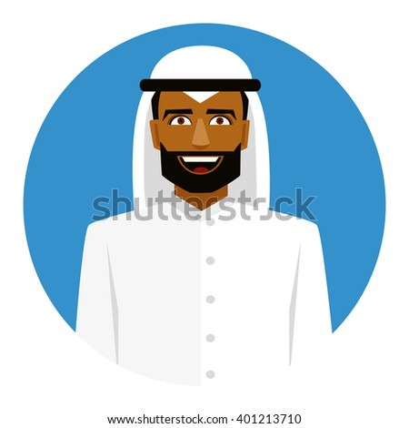 Round icon with smiling arab man in traditional muslim hat. - stock vector