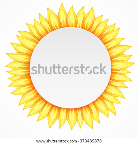 Round icon with yellow flower petal on white. Vector illustration - stock vector