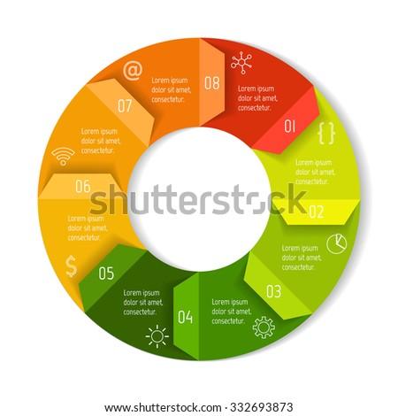 Round Infographic Diagram Folded Arrows Circular Stock Vector ...