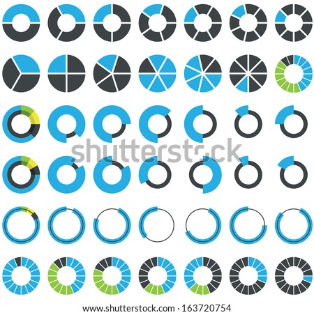 Round infographic elements and pie charts - stock vector