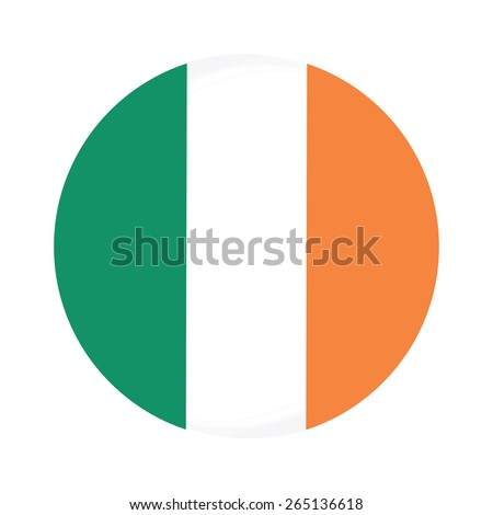 Round ireland flag vector icon isolated, ireland flag button - stock vector