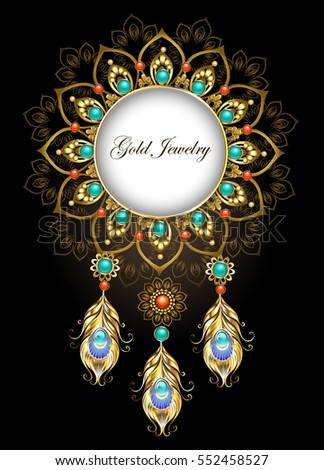 Round, jewelry banner, made in the ethnic style, is decorated with precious gold peacock feathers. Jewelry Design.