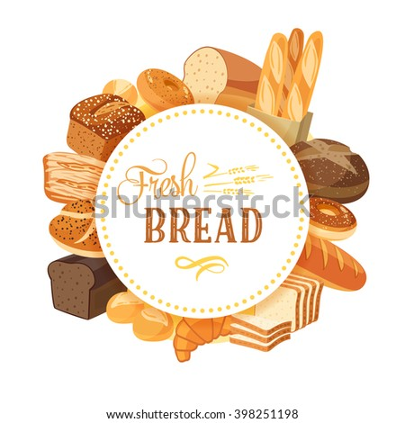 Round label with bread assortment: rye, ciabatta, wheat, whole grain, bagel, sliced, french baguette, croissant and so. Design template/frame/banner. Vector illustration, isolated on white, eps 10. - stock vector