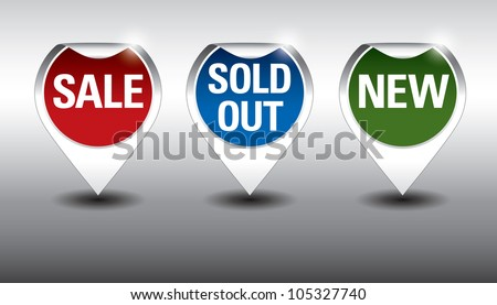 Round Labels or stickers for sale, new and sold out items. Eps10. - stock vector