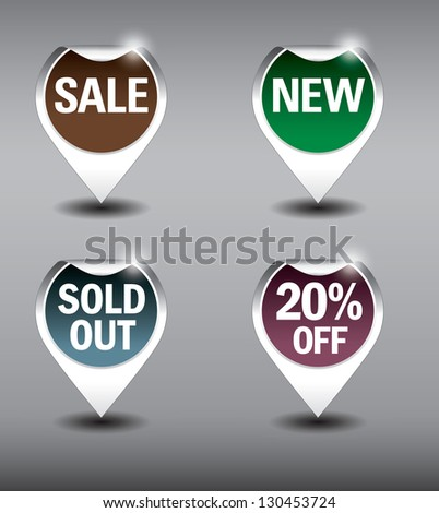 Round Labels or stickers for sale, 20% off, new and sold out items. Eps10 Vector Format. - stock vector
