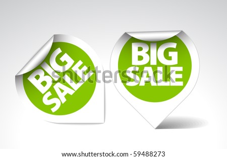 Round Labels / stickers for big sale - green with white border - stock vector