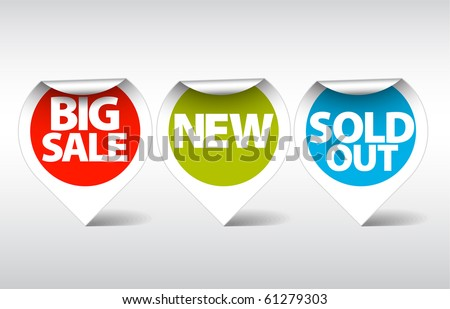 Round Labels / stickers for big sale, new and sold out items - stock vector