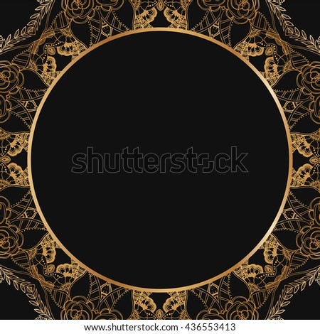 Round lace border frame silhouettes. Can be used for decoration and design photo frame, menu, card, scrapbook, album. Vector Illustration.