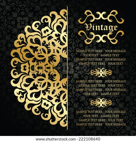 Round lace pattern on vintage background in black. Gold decoration    - stock vector