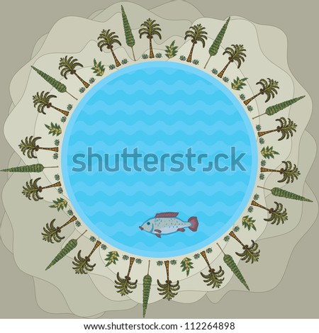 Round Lake in the center of the oasis in the sand dunes of the desert - stock vector