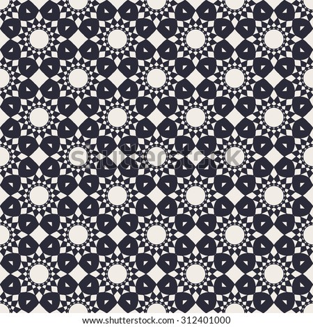 Round Linear Seamless Pattern with lace vintage decorative geometric elements. Modern monochrome geometric background. Contemporary graphic design. - stock vector