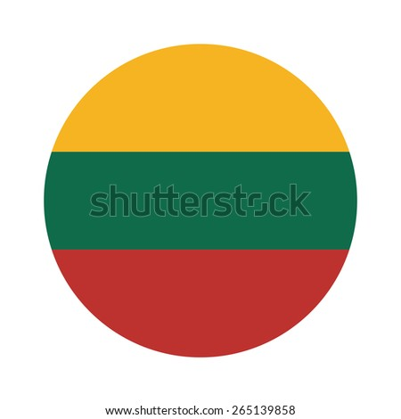 Round lithuania flag vector icon isolated, lithuania flag button - stock vector
