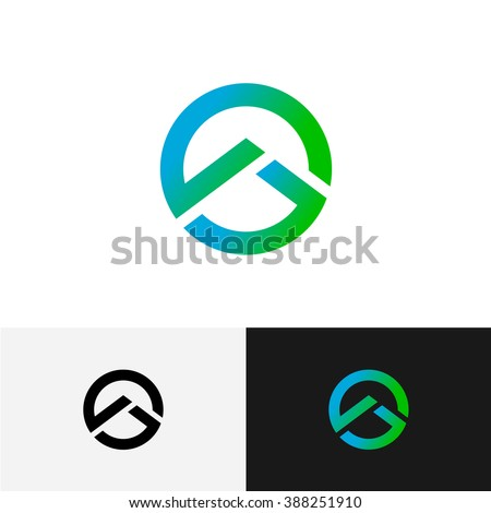 Round logo with mountain triangle profile inside. Geometric tech outline style. - stock vector