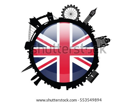 Round London Skyline Silhouette with Britain flag