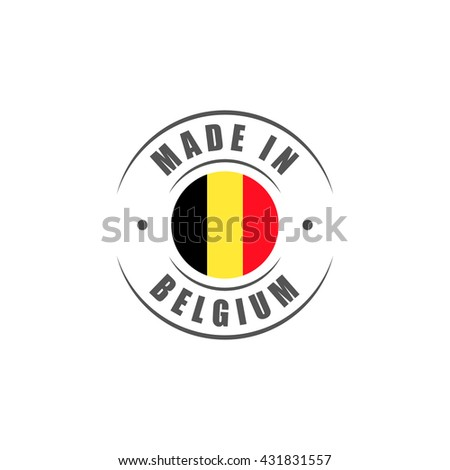 "Round ""Made in Belgium"" label with Belgian flag"