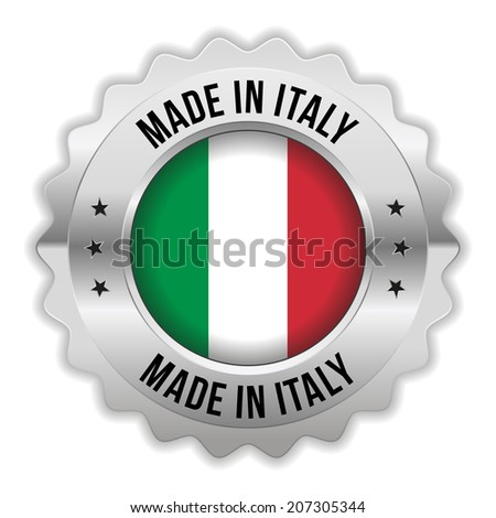 Round made in italy badge with chrome border on white background - stock vector